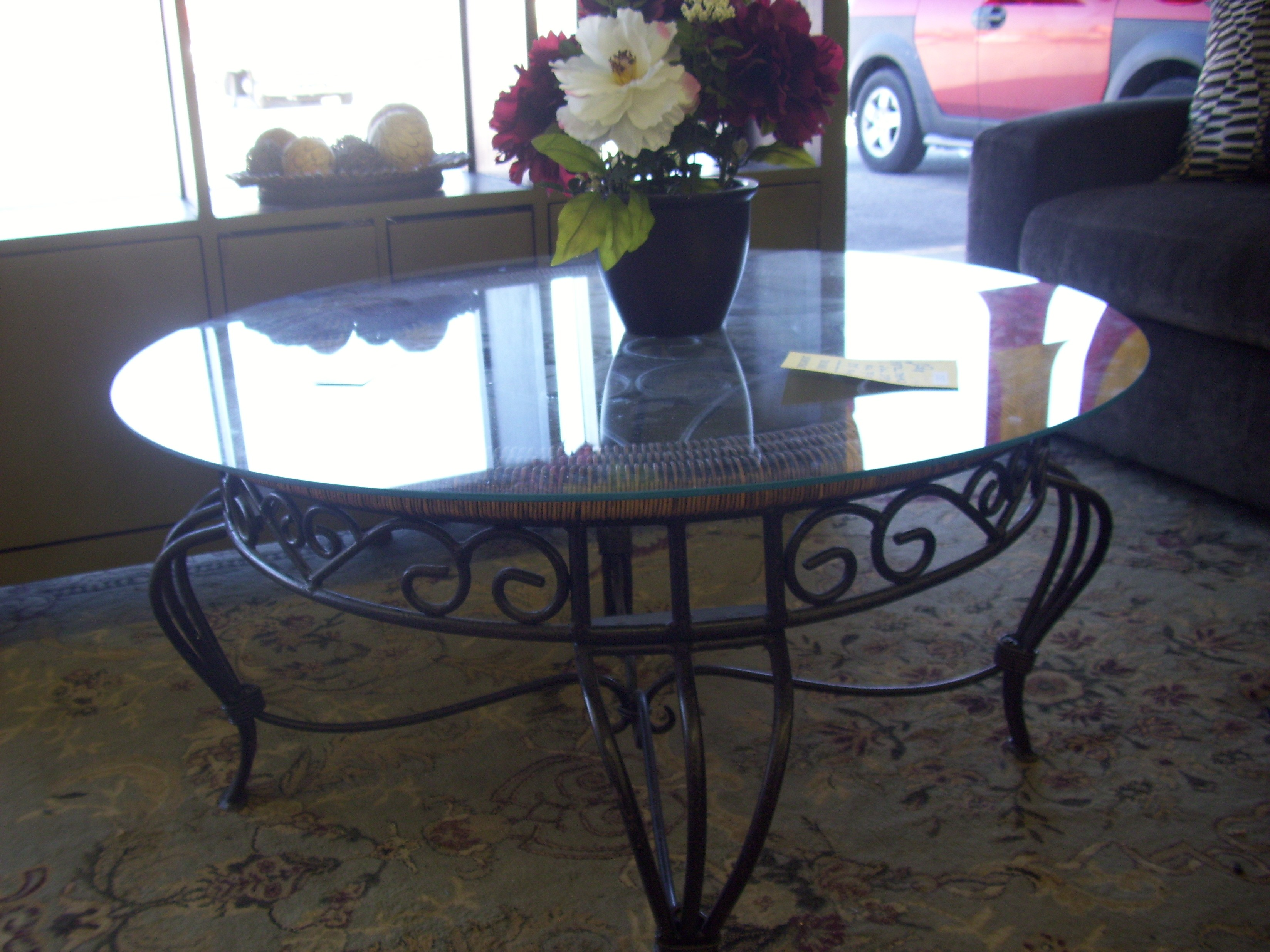 10 s Round Glass Top Coffee Table Wrought Iron