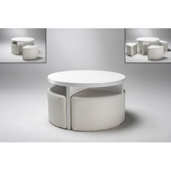 Round Gloss White Coffee Table Plus 4 Stools Round White Coffee Table Awesom Esmall White Coffee Tables Furniture Design 2016 (Image 5 of 10)