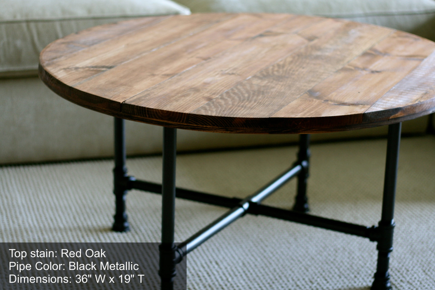 Round Industrial Coffee Table Reclaimed Wood Furniture Industrial Pipe Legs Rustic Table Distressed Round Coffee Table (Image 9 of 10)
