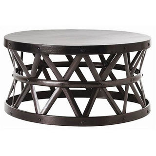 Round Iron Coffee Table Round Glass Top Metal Coffee Table Hammered Drum Cross Dark Bronze Coffee Table (Image 5 of 10)