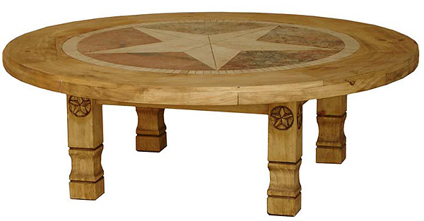 round-julio-star-mexican-rustic-pine-coffee-table-with-inlaid-marble-captain-america-logo-image-round-pine-coffee-table (Image 6 of 10)