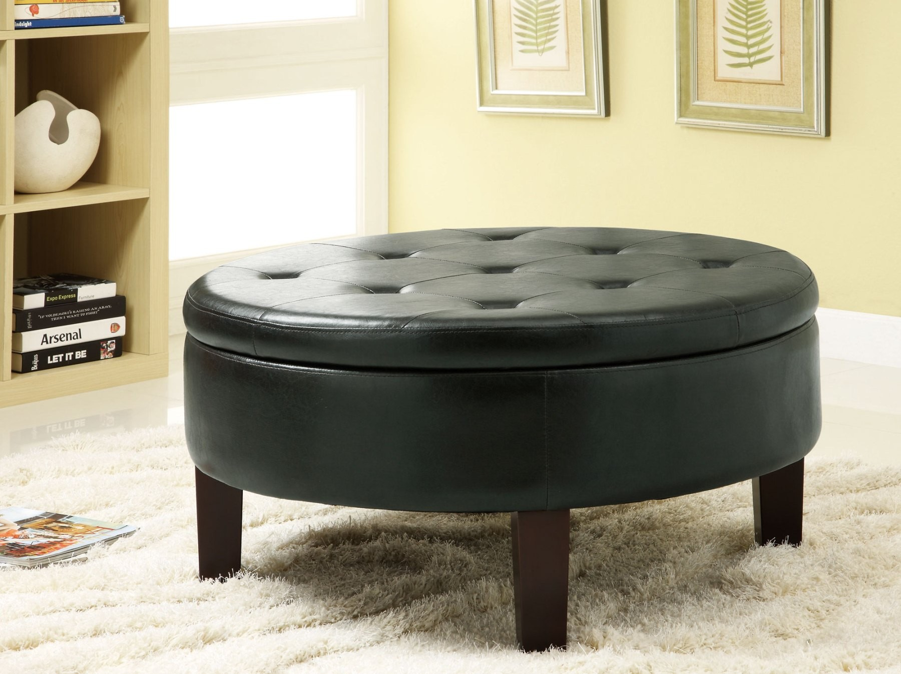 Round Leather Ottoman Coffee Table As Glass Coffee Table On Installing Coffee Table The Amazing With Storage (Image 7 of 10)