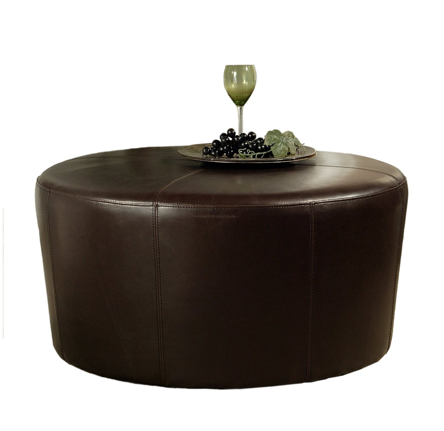Round Leather Ottoman Coffee Table With Storage Round