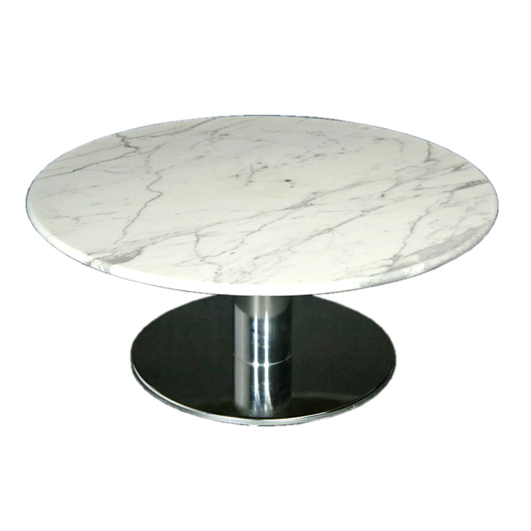 Round Marble And Chrome Base Coffee Table Round Marble Coffee Tables Marble Coffee Tables For Sale (Image 6 of 10)