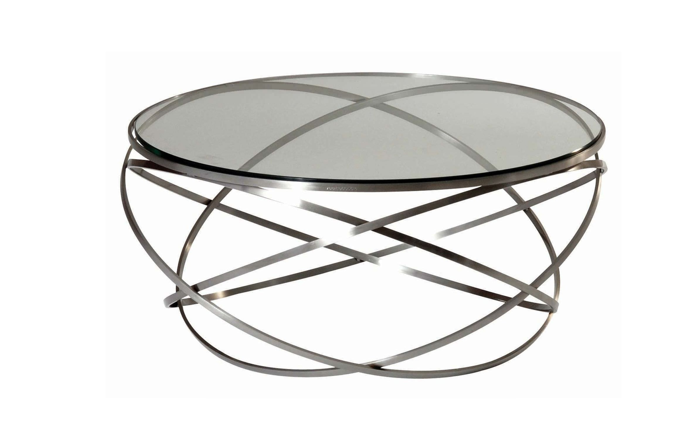 Round Metal And Glass Coffee Table Living Room Furniture Futuristic Frosted Glass Coffee Table With Unique Stainless Steel Frame Round Coffee Table With Metal Legs (View 5 of 10)