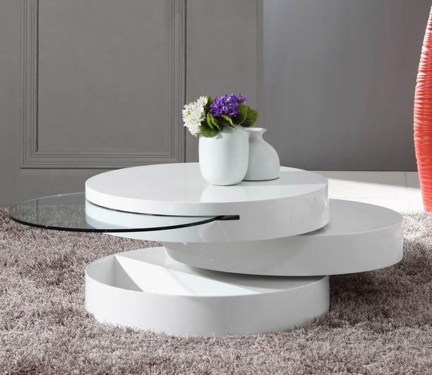Round Modern Motion Coffee Table Furnitur Modern White Round Coffee Table Modern White Coffee Table Sets (Image 9 of 10)