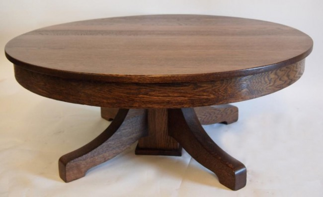 round-oak-coffee-table-simple-brown-round-lacquered-wooden-coffee-table-42-round-coffee-table (Image 8 of 10)