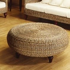Round Ottomans Tropical Ottoman Wicker Round Coffee Table Round Wicker Coffee Table Rattan Wicker Round Coffee Table With Glass Top (Image 5 of 10)