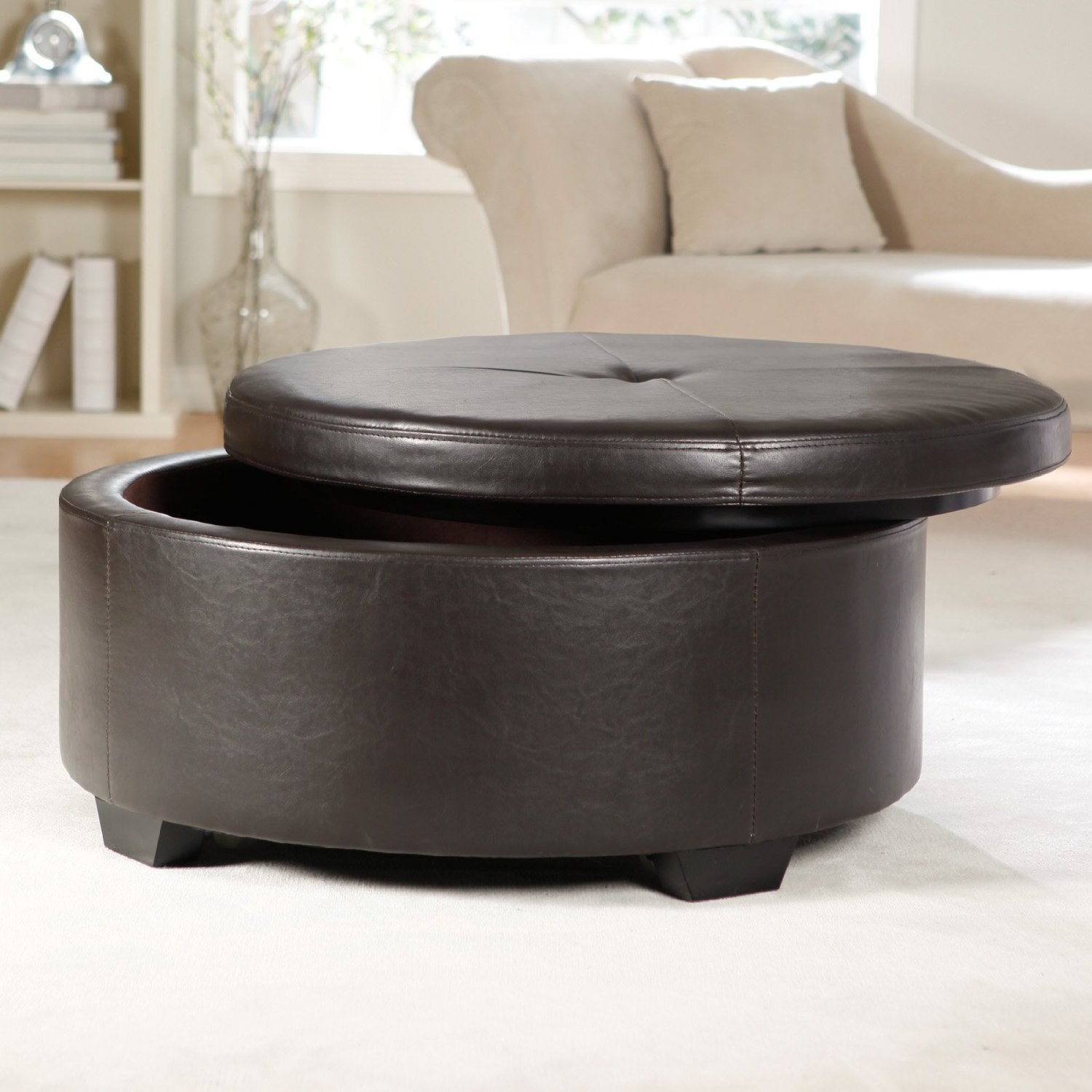 Round Padded Coffee Table Upholstered Coffee Tables Tufted Leather Padded Ottoman With Drawers Furniture (Image 8 of 10)