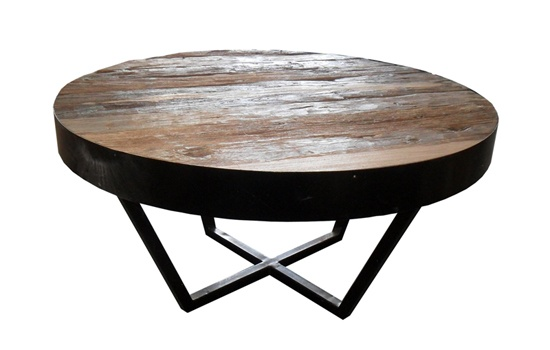 Round Rustic Reclaimed Teak Coffee Table With Metal Frame Metal Round Coffee Table Small Round Wooden Lacquered With 4 Legs From Steel Coffee Table (View 8 of 10)