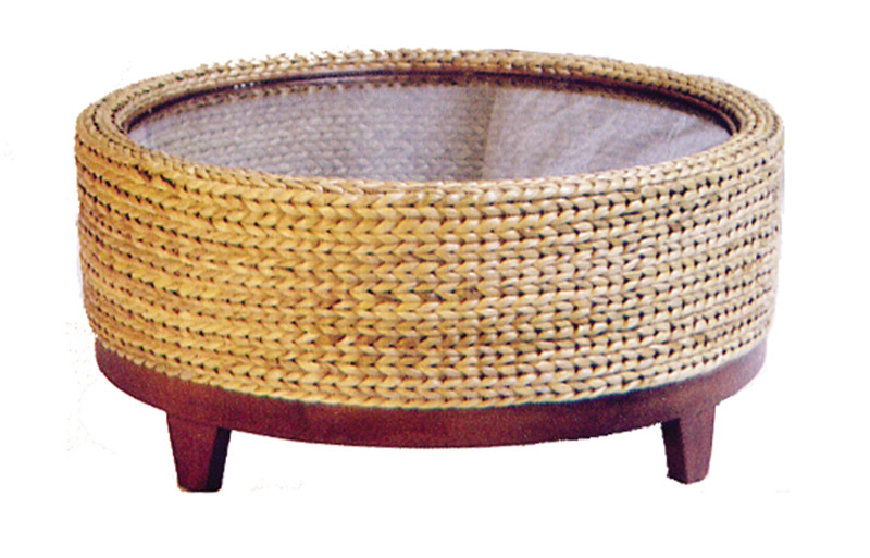 Round Seagrass Coffee Table Round Woven Seagrass Coffee Table Round Handwoven Seagrass Coffee Table Is Handwoven In Bali (Image 4 of 10)
