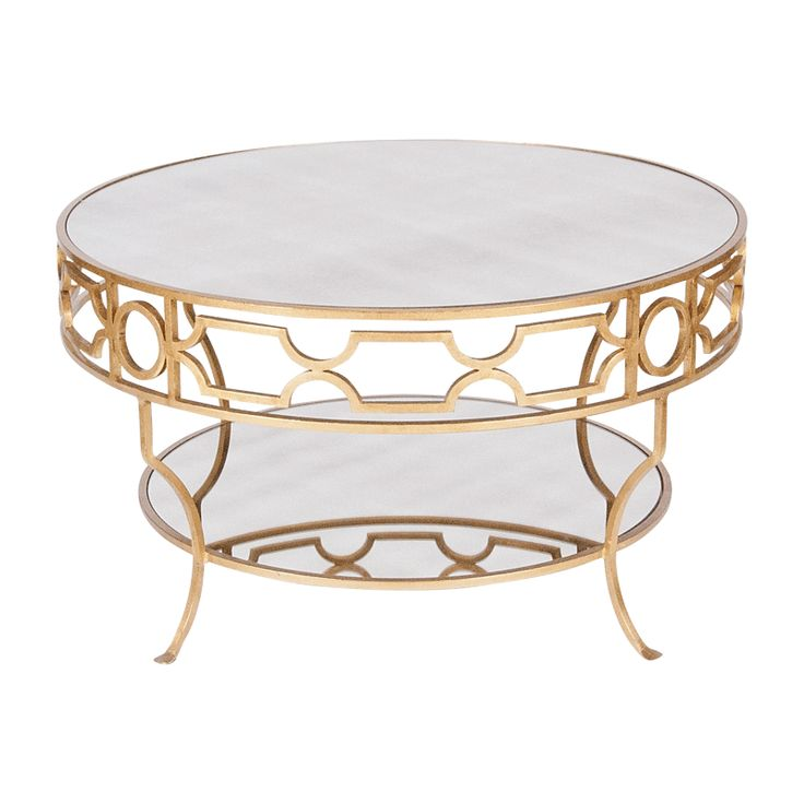 Round Shape Steel Gold Stained GOLD LEAF MIRROR ROUND COFfee Table Ideas (Image 4 of 10)