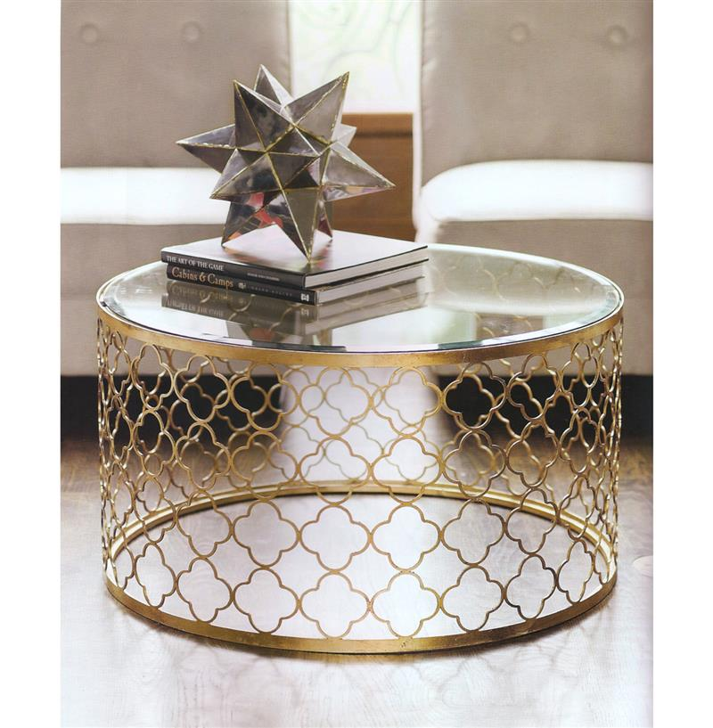 Round Shape Steel With Wold Paint And With Glass On Top Gaultier Round Coffee Table Gold Nuevo Ideas (Image 5 of 10)