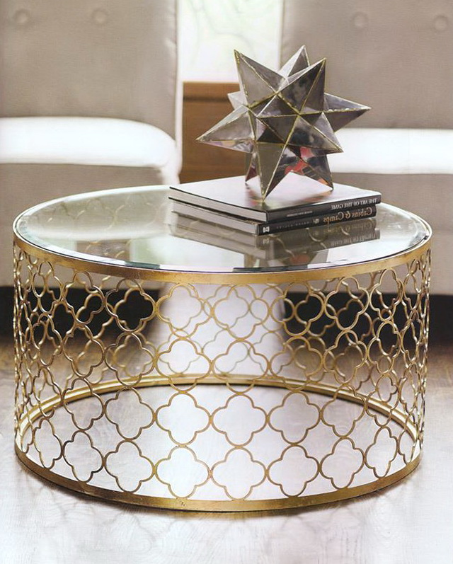 Round Shape With Gold Paint Gold And Glass Round Coffee Table Ideas Free Download Ideas (Image 6 of 10)