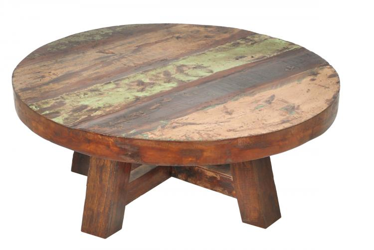 Round Shape Wood Ideas Furnish Round Reclaimed Wood Coffee Tables (Image 6 of 10)
