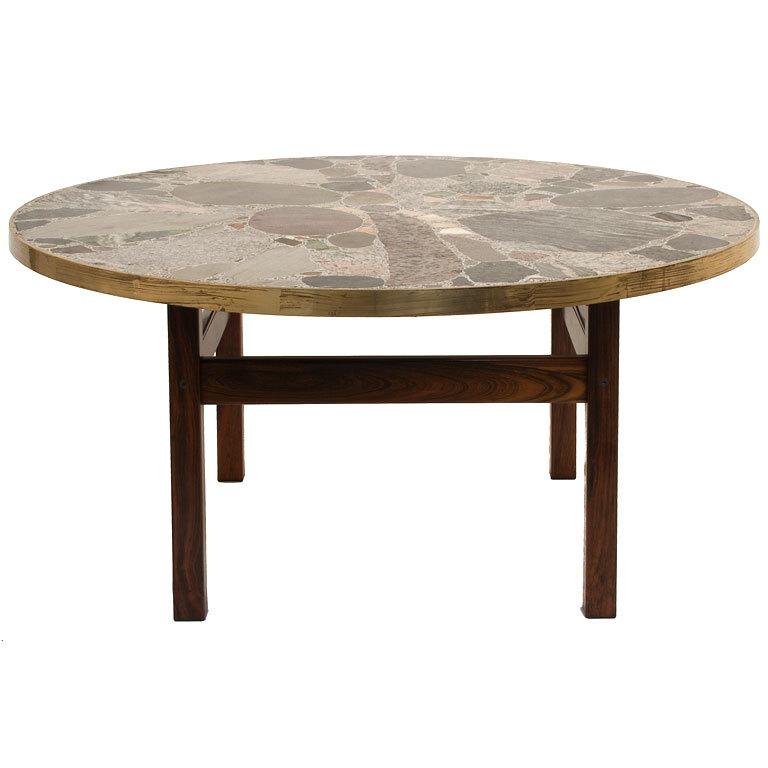 Round Stone Top Coffee Table Round Stone Coffee Table Coffee Table With Stone Sandstone Coffee Table (Image 8 of 10)