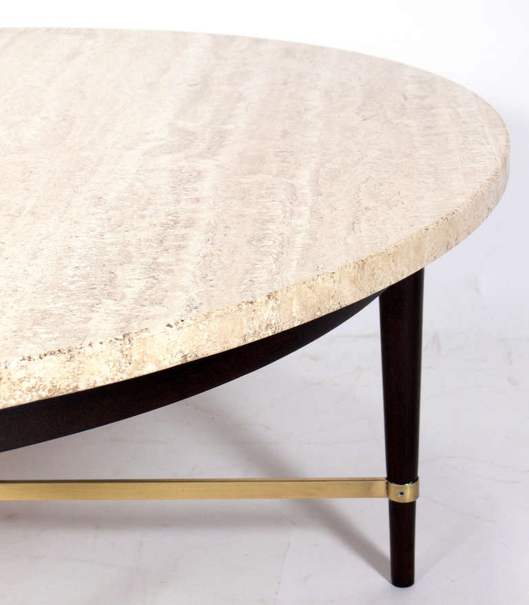 round-travertine-and-brass-coffee-table-by-paul-mccobb-for-sale-round-travertine-coffee-table-travertine-round-table-top (Image 4 of 8)