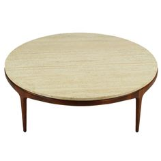 round-travertine-coffee-table-italian-modern-round-figural-walnut-and-travertine-coffee-table-italy-circa-1950s-round-sculpted-figural (Image 5 of 8)