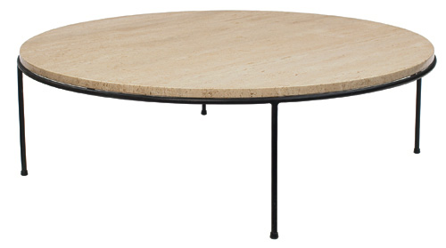 round-travertine-coffee-table-paul-mccobb-coffee-table-round-travertine-top-over-black-iron-rod-frame-original-foot-pads-42 (Image 6 of 8)
