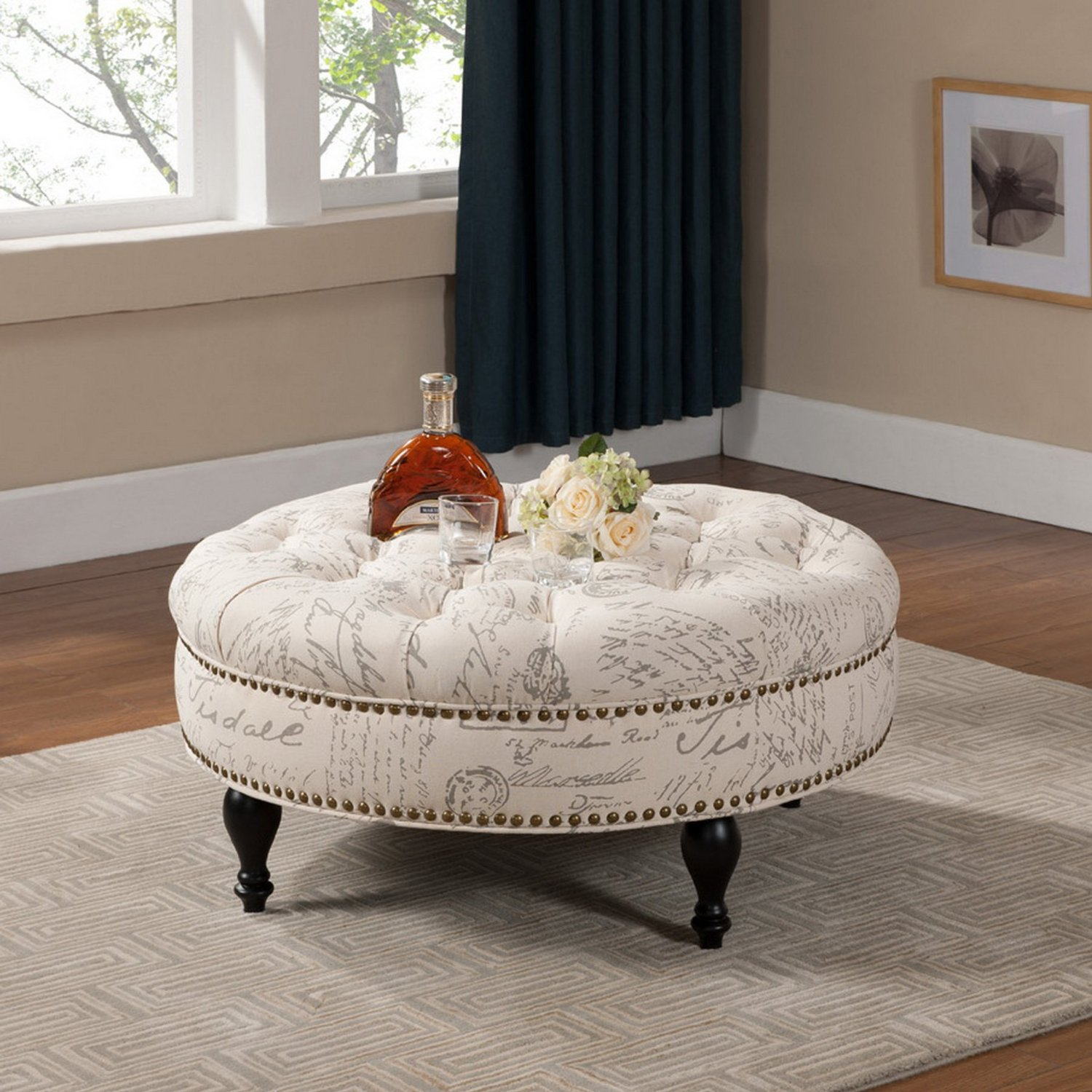 Round Tufted Ottoman Coffee Table Round Tufted Coffee Table Round Tufted Leather Coffee Table Tufted Circular Ottoman (Image 6 of 10)