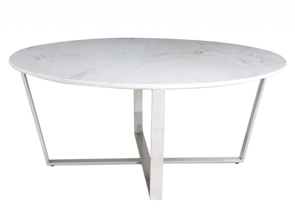 round-white-Marble-Carve-Coffee-Table-Round-Walnut-Base-White-Marble-Top-by-Bethan-Gray-top-coffee-table (Image 7 of 8)