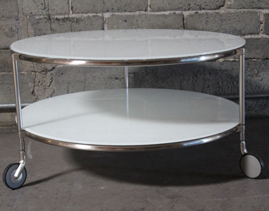 Round White Glass Coffee Table 4 Legs With Steel Chrome White Round Coffee Tables White End Tables Living Room Furniture (Image 4 of 10)