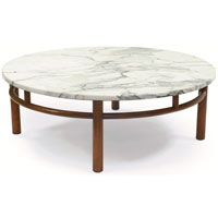 Round White Marble Top Over A Mahogany Base With Decorative Vertical Spindles Original Finish 40 Round Coffee Table (View 9 of 10)