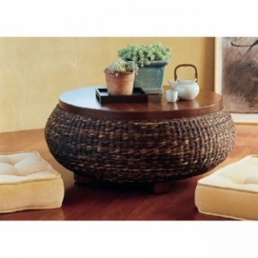 Round Wicker Coffee Table Round Wicker Ottoman Coffee Table Sunroom Furniture Wicker Umbrella Coffee Table (View 6 of 10)