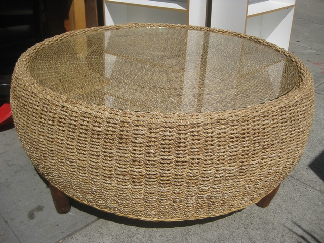 Round Wicker Ottoman Coffee Table Torrey All Weather Wicker Round Coffee Table Natural With Glass (Image 3 of 8)