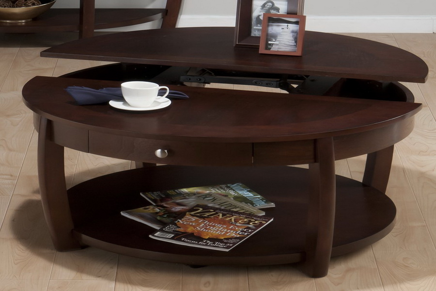 Round Wood Coffee Table With Storage Round Coffee