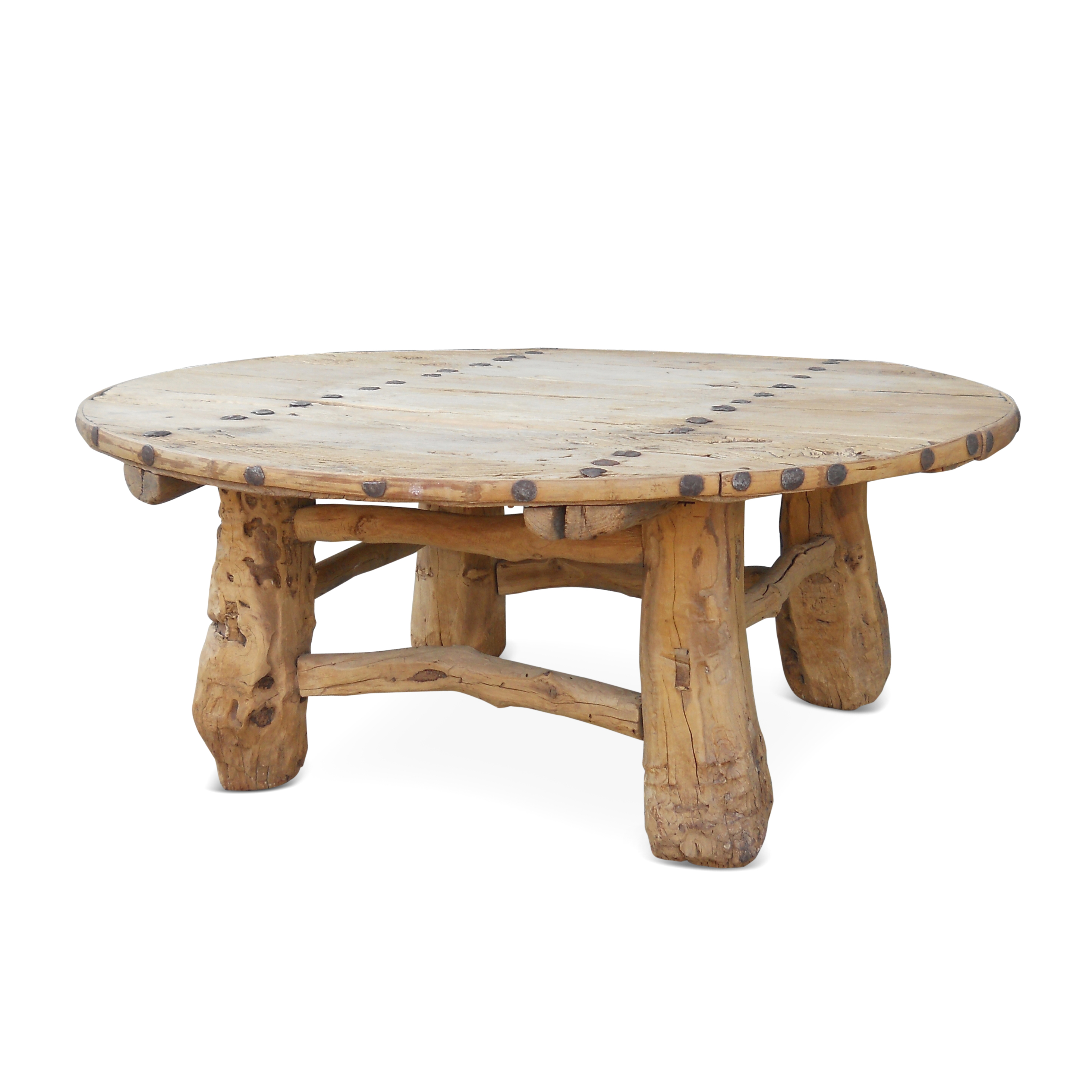 round-wooden-coffee-table-round-wood-coffee-table-with-hammered-nail-head-detail-circle-coffee-tables-furniture-2016 (Image 9 of 10)