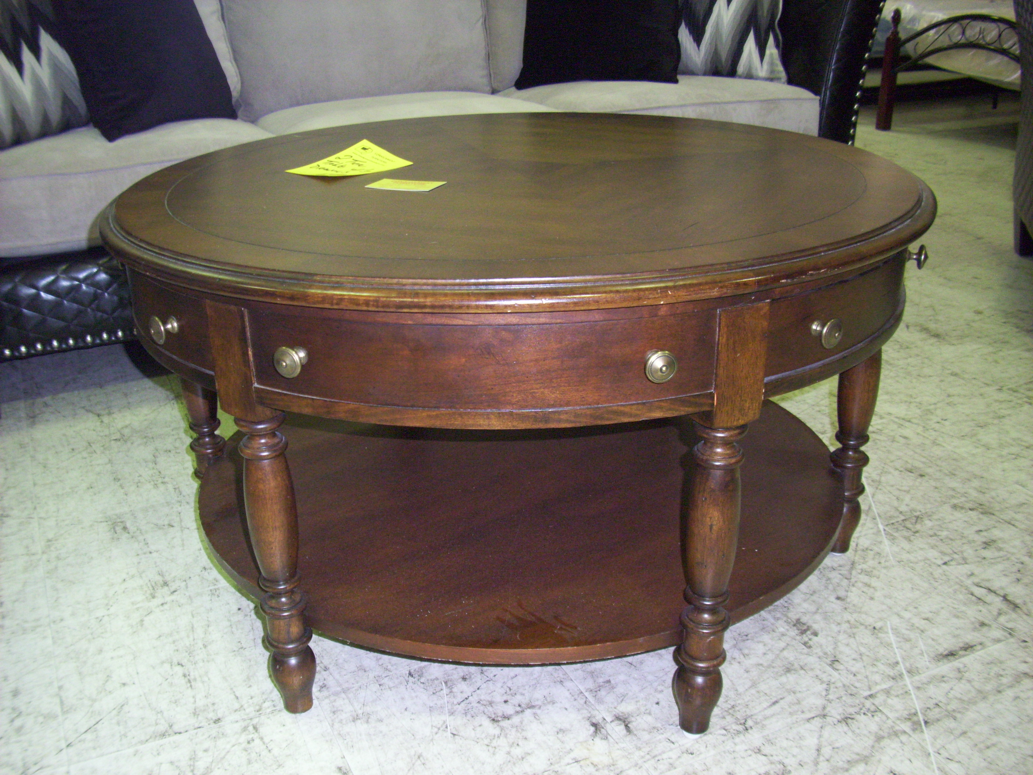 Round Wooden Coffee Table With Drawers Round Coffee Table With Two Tiers And Three Drawers One Of A Kind Unique Decoration Round Two Tier Table (Image 8 of 10)