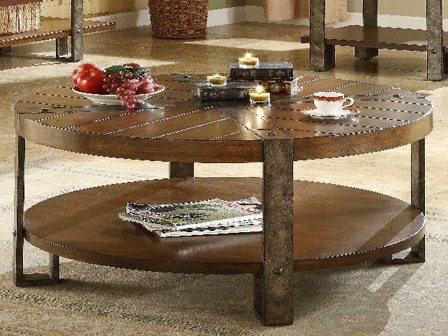 Round Wooden Coffee Table With Metal Legs Round Coffee Tables Wood End Tables For Living Room (Image 9 of 10)