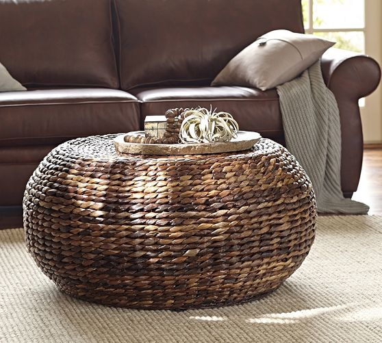 Round Woven Coffee Table Pottery Barn This But In A Rectangle With Legs Furniture Seagrass Round Coffee Table Interior (Image 4 of 10)