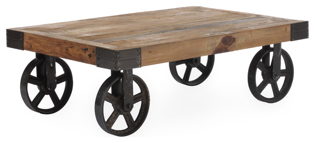 rustic-coffee-tables-Barbary-Coast-Cart-Table-Distressed-Natural-rustic-coffee-tables-4-wheels-ideas (Image 8 of 10)