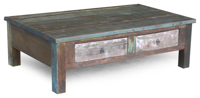 Rustic Coffee Tables RECLAIMED WOOD COFFEE TABLE WITH DOUBLE DRAWERS Rustic Coffee Tables (Image 6 of 9)