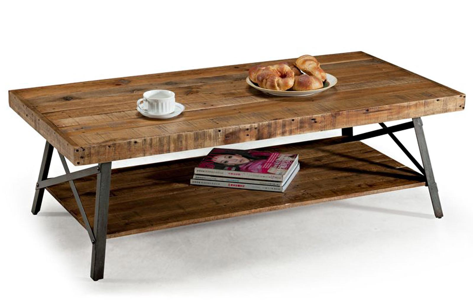 Rustic Industrial Reclaimed Wood Iron Metal Coffee Cocktail Table Rustic Wood And Iron Coffee Table (Image 6 of 10)