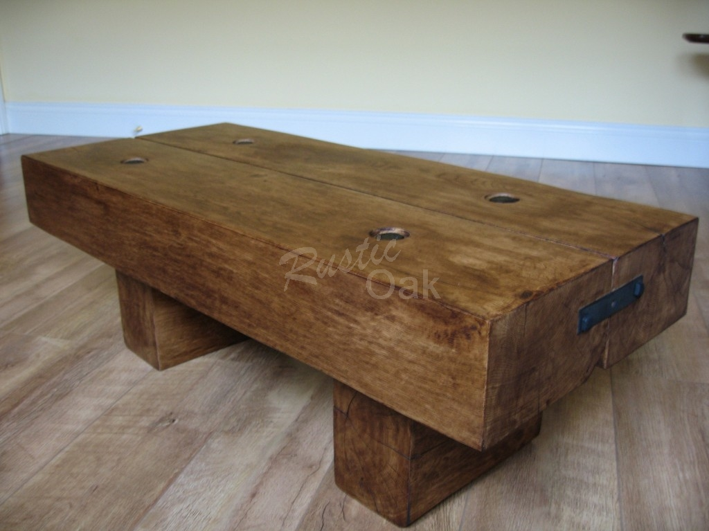 Rustic Oak Coffee Tables Beam Coffee Table With Rustic Waney Edged Coffee Table With Wood Furnish (Image 7 of 10)