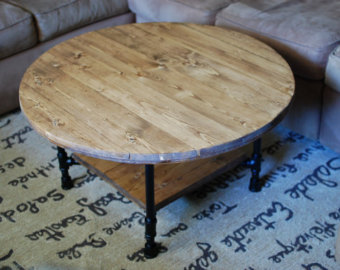 rustic-round-coffee-table-round-industrial-coffee-table-with-shelf-reclaimed-wood-furniture-industrial-pipe-legs-rustic-table (Image 6 of 10)