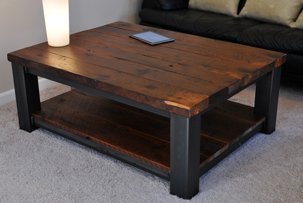 Rustic Wood Coffee Table With Wheels Ideas On Living Room Photo With White Accent (View 8 of 10)