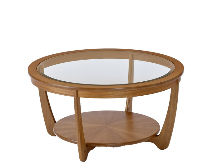 Shades Glass Top Round Coffee Table In Teak Round Coffee Table Glass Top Glass Cocktail Tables Round Coffee Tables (View 9 of 10)