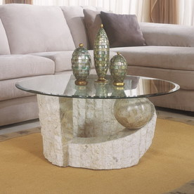 Shop Magnussen Home Ponte Vedra Stone And Glass Round Coffee Table Round Stone Coffee Table (Image 9 of 10)