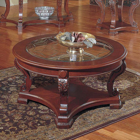 Shop Steve Silver Company Canterbury Cherry Round Coffee Table Cherry Round Coffee Table Cherry Wood Coffee Tables (View 7 of 10)