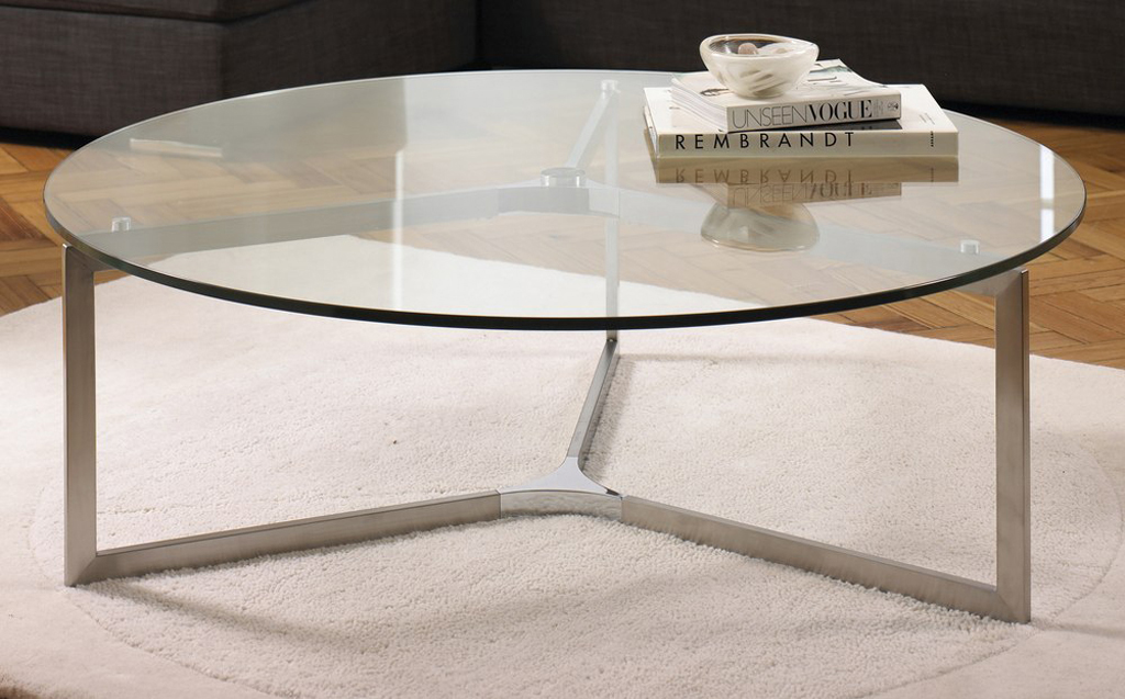 Simple Design Round Top Glass With Steel Leg Coffee Table Glass Top Round Coffee Table Round Coffee Tables Living Room (Image 9 of 10)