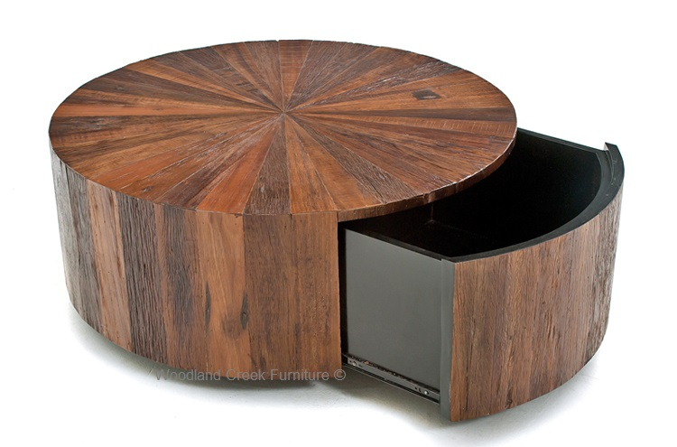 Slab Coffee Table Round Coffee Tables With Drawers Modern Rustic Round Cocktail Table With Drawer (View 9 of 10)