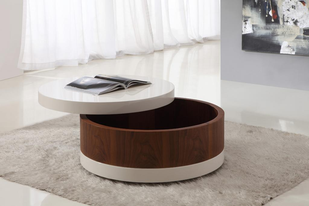 Small Round Coffee Table With Storage Simple White Stained And Brown Lacquer Wooden Coffee Table Round Coffee Table (Image 9 of 10)
