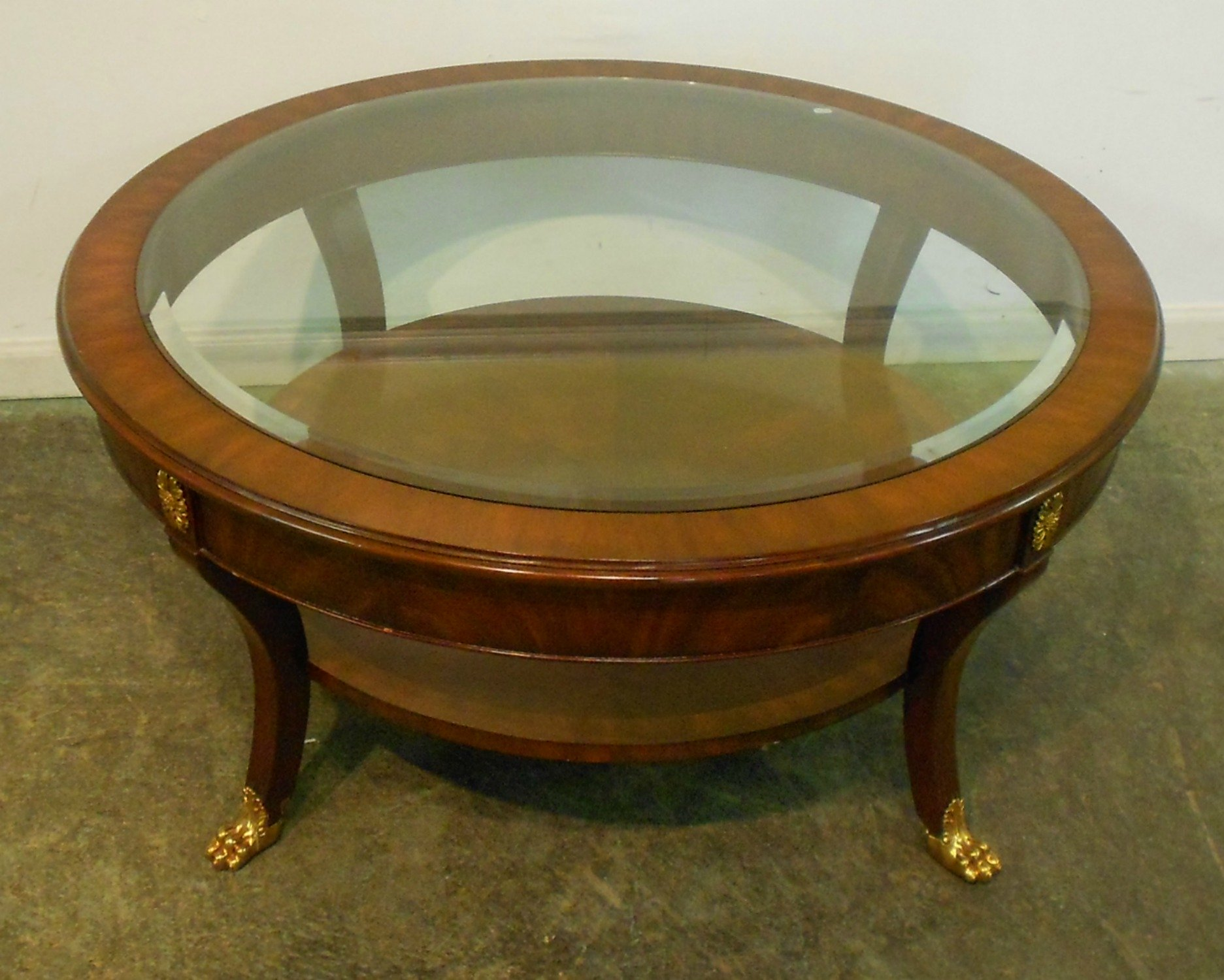 Small Round Mahogany Coffee Table With Glass Top Brass Legs And Shelves For Rustic Mahogany Round Coffee Table Ideas (View 10 of 10)