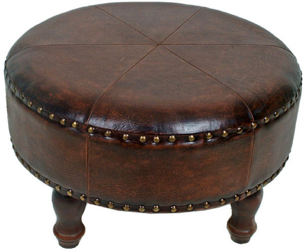 Small Round Ottoman Coffee Table International Caravan International Caravan Sicily 24inch Round Ottoman Stool In Brown (View 6 of 10)