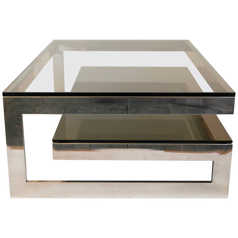 Smoked Glass Coffee Tables Mid Century Coffee Table In G Shape Cantilevered Design Featuring Glass Top And Smoke Glass Second Tier Shelf (View 5 of 10)