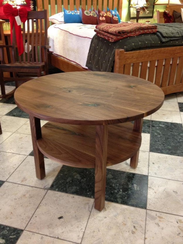 solid-walnut-mission-coffee-table-with-turquoise-inlay-coffee-and-occasional-tables-round-mission-coffee-table-design-furniture (Image 9 of 10)